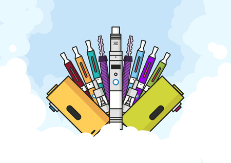 vaporizer: Vaping illustration of vaporizer and accessories, vape