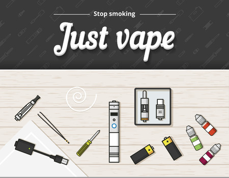 tank top: Vape vector illustration of vaporizer and accessories, vaping Illustration