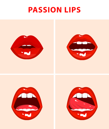 sexy nude women: Set of 4 sexy open mouths, tongue hanging out, red erotic seductive lips, passion Illustration