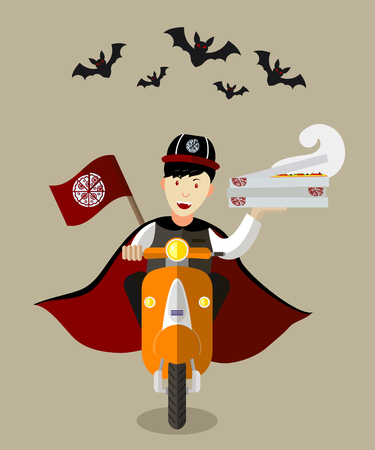 vampire bat: Halloween vampire food-deliveryboy on a scooter with boxes of pizza, flat design, holiday