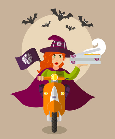 cosplay: Halloween wizard food-deliverygirl on a scooter with boxes of pizza, flat design, holiday
