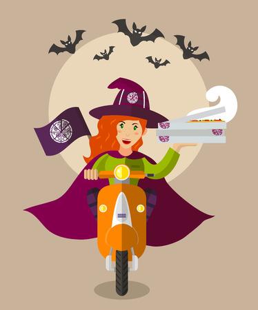 pizza: Víspera asistente deliverygirl comida en un scooter con cajas de pizza, diseño plano, día de fiesta