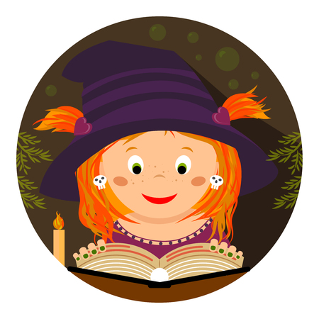Halloween illustration. Cute little whitch-girl reading a magic spellbook