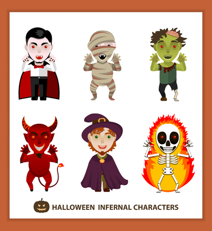 vampire: Set of 6 infernal characters for the holiday of Halloween: vampire, mummy, zombie, demon, wizard, skeleton. Flat style, white background