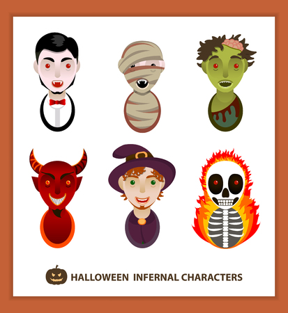 witch face: Set of 6 infernal characters for the holiday of Halloween: vampire, mummy, zombie, demon, wizard, skeleton. Flat style, faces