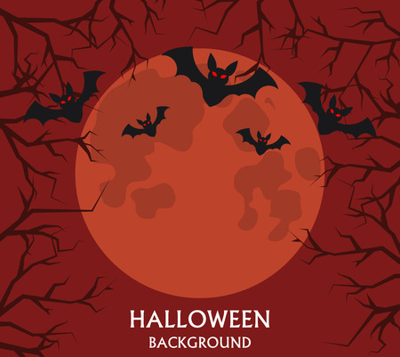 vampire bats: Halloween background, bats flying on a background of the red full moon