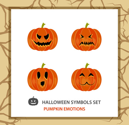 calabaza caricatura: Halloween symbols set: 4 emotions pumpkin, flat. Background with a trees branches