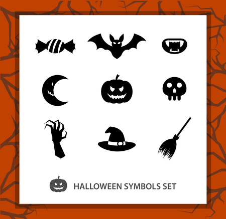 beggars: Halloween symbols set: 9 monochrome silhouettes symbolizing Beggars Night. Background with a trees branches Illustration