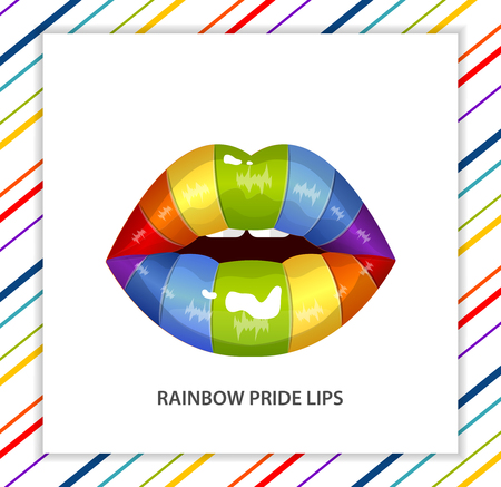 erotic: Rainbow sexy shining pride lips, lipstick,erotic open mouth, line pattern