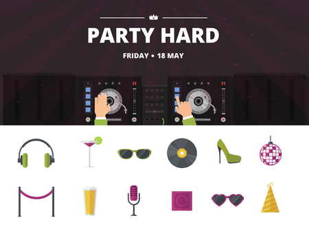 retro disco: Night club cocktail party, disco music icon set, vector flat illustration Illustration