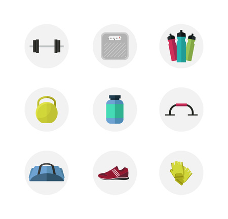 bank activities: Flat style gym icon set, sport, fitness