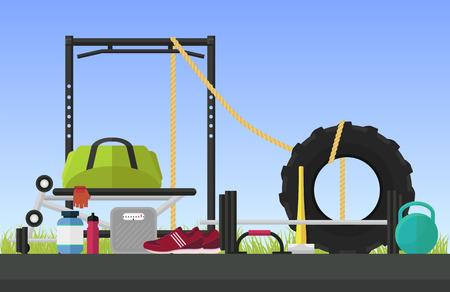 cross bar: Crossfit flat style vector illustration, sport, gym