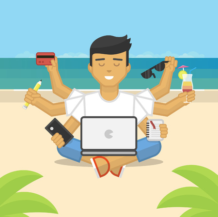meditation man: Flat illustration of meditating freelancer working on beach Illustration