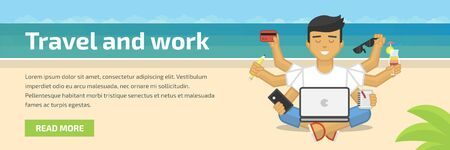 meditating: Website header flat illustration of meditating freelancer working on beach