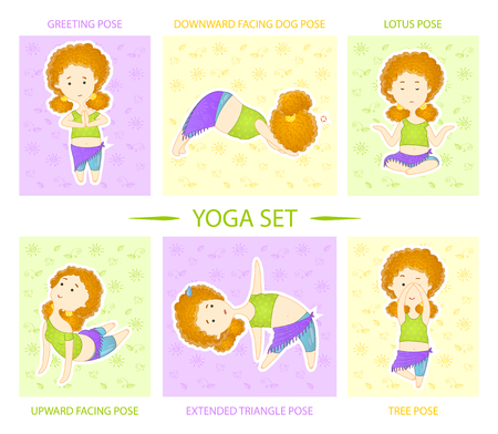Yoga set. Cute curly red haired yogi girl performs six asanas, positions of yoga.