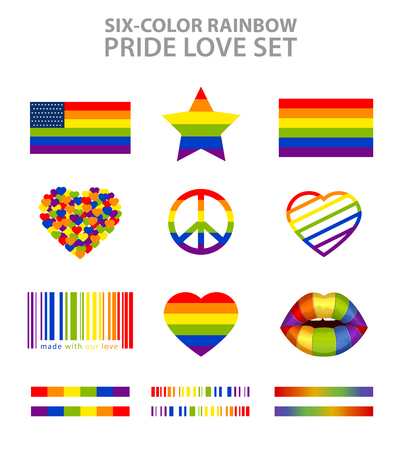 homosexual sex: Six-color rainbow  LGBT symbols set: pride, freedom flags, hearts, peace, star and lips