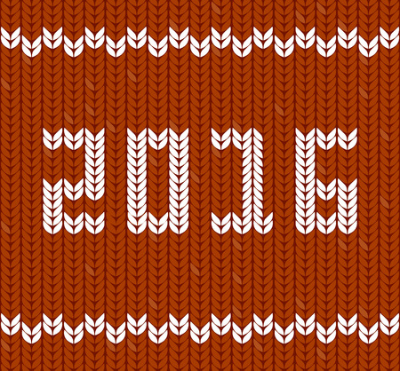 fragments: New Year 2016 on knitted fabric. Fragments of knitting in shape of number 2016. Knitting Pattern
