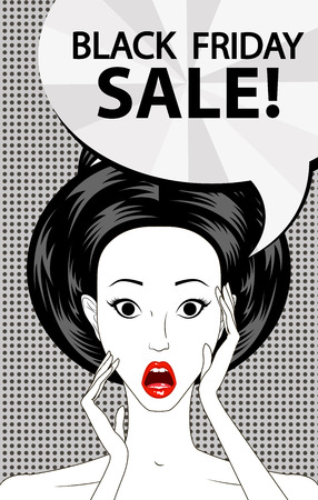 woman mouth open: Black friday sale banner, speech bubble pop art surprised woman face with open mouth, vector illustration
