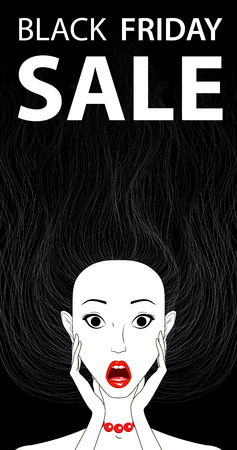 girl mouth open: Black friday sale conceptual banner surprised girl with open mouth, vector illustration Illustration