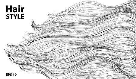 Lang zwart haar. Beauty slot en kapsel, concept art, vector illustratie Stock Illustratie