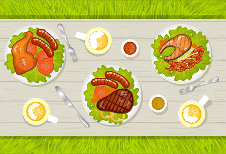 lemon grass: Variety of meat dishes BBQ stand on a table, vector illustration