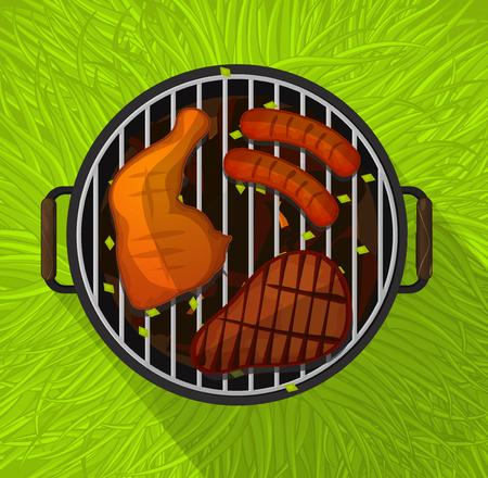 grill chicken: Summer BBQ with chicken legs, sausage and beef steak grilling, flat design, vector illustration Illustration