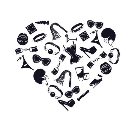 erotic sex: BDSM heart, I love bdsm, Heart of BDSM accessories, vector illustration