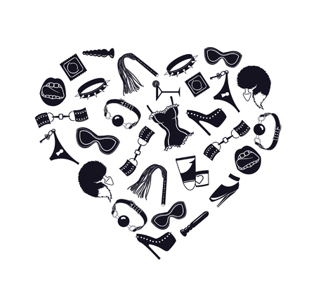 BDSM heart, I love bdsm, Heart of BDSM accessories, vector illustration