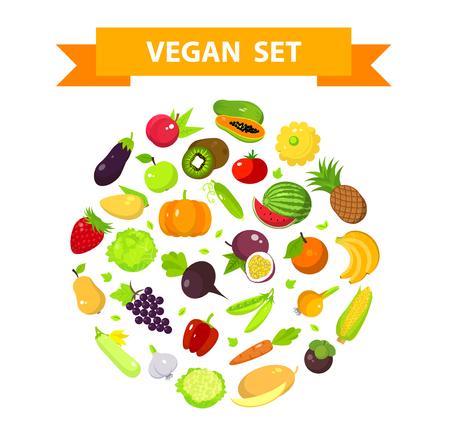 fruta tropical: Conjunto de frutas y verduras en una forma redonda, ilustraci�n vectorial