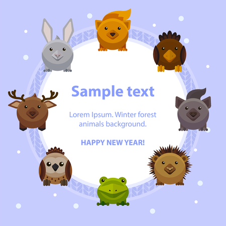 christmas frog: Happy New Year card design with cute forest animals, flat style vector illustration