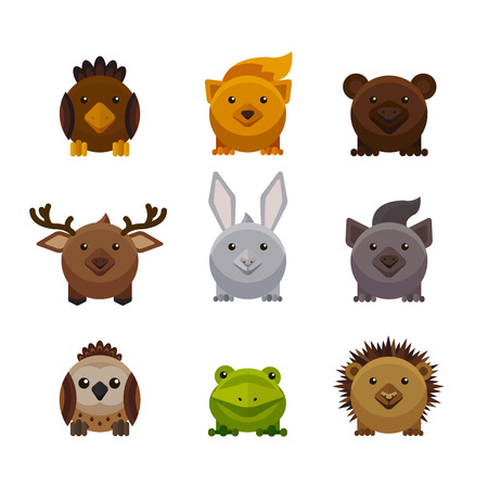 temperate: Cute forest animals, flat style vector set, illustration