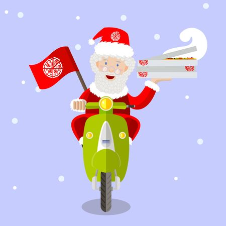 uniform curls: Santa Claus food delivery man on a scooter with boxes of pizza, holiday, Christmas and New Year, vector flat design