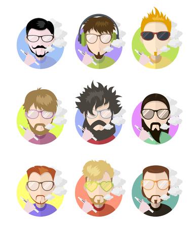 Set awatary profil płaskie ikony mężczyzn vaping e-papierosa, różne charaktery. Trendy brody, okulary, ilustracji wektorowych
