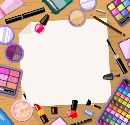 cosmetic product: Cosmetic frame background. Bright trendy flat style product. Card and invitation, placard, banner template., vector illustration