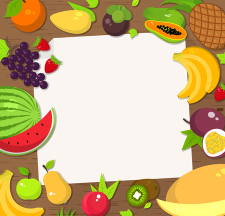 pineapple: Fresh fruit frame background. Bright colored products. Card and invitation, placard, banner template, flat vector illustration Illustration