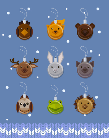 christmas frog: Christmas ball decorations in the form of cute forest animals, flat style vector set, illustration