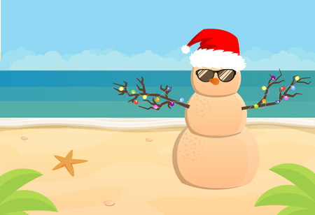 Pupazzo di neve Babbo Natale su una spiaggia tropicale di sabbia, illustrazione piatta Vettoriali