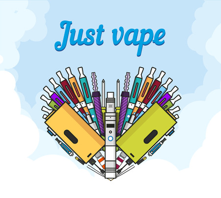 vaporizer: Illustration of vaporizer and vaping accessories a heart form, Love vape, flat art Illustration