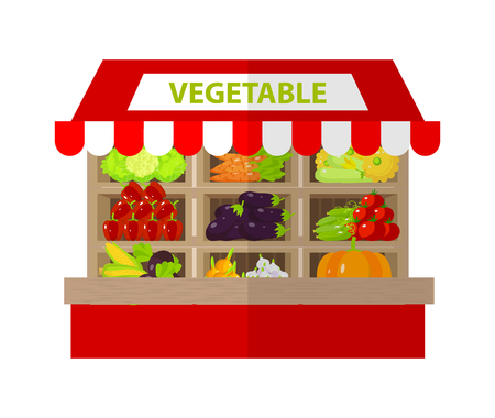 food store: Local vegetable stall. Fresh organic food products shop on shelves. Shop building facade with signboard. Flat illustration Illustration