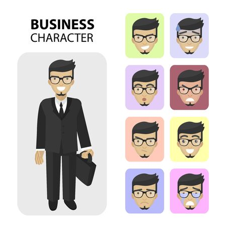 human face: Successful businessman, financial officer or manager character. Set business different emotions faces, profile pictures flat icons,  avatars characters. Trendy beard and glasses Illustration