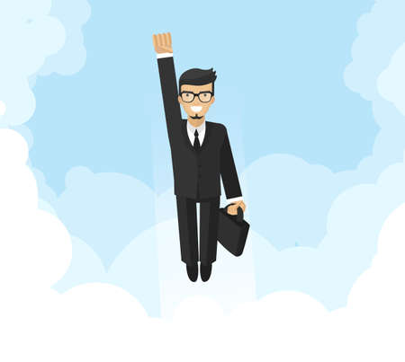 boost: Successful businessman, financial officer or manager flying in sky, boost career, flat design, illustration