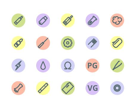 e liquid: Vaping outlines colored icon set on white background Illustration
