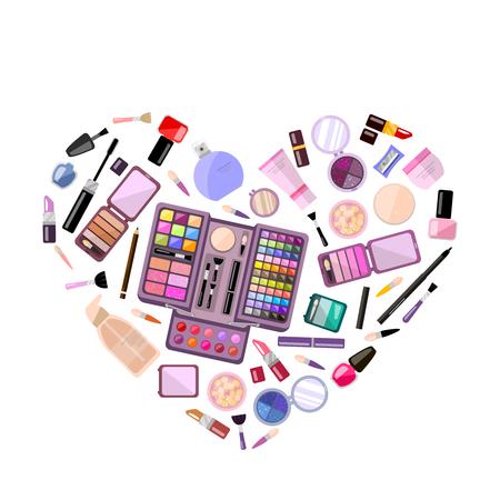 cosmeticos: Conjunto de cosméticos decorativos en forma de corazón, ilustración plana, caja de maquillaje. tienda de belleza, tienda Vectores