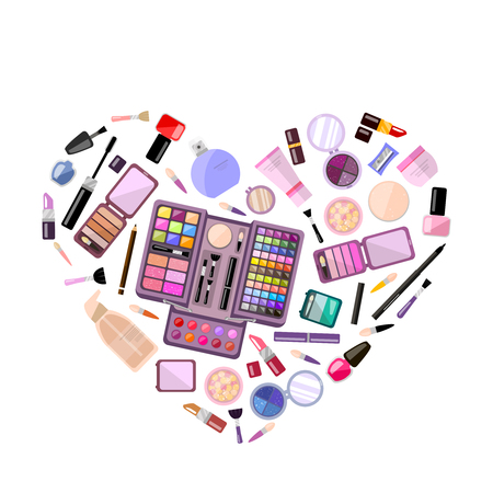 heart tone: Set of decorative cosmetics in heart shape, flat illustration, makeup case. Beauty store, shop