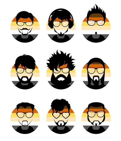 Set avatars profile pictures flat icons, different style people characters on LGBT Bear flag background. Trendy beards and glasses.