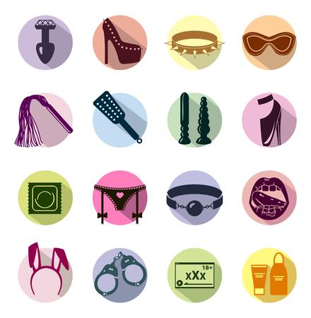 sex: Vlakke stijl gekleurde Sexshop icon set, seksspeeltjes, bdsm, illustratie