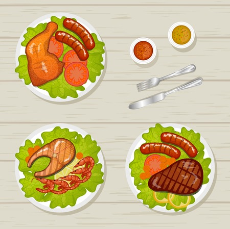 junket: Variety of meat dishes: BBQ, chicken legs sausage and beef steak grilling stand on a table, illustration