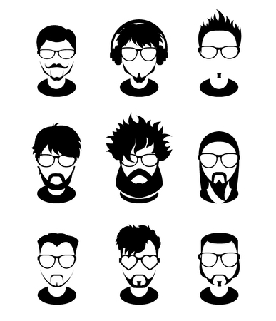 subcultures: Set avatars profile pictures monochrome icons, different style people characters. Trendy beards and glasses.
