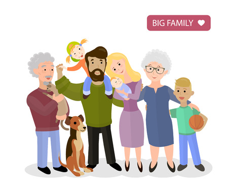 grand sons: Big Happy Family. Parents with Children. Father and mother, children, grandpa and grandma and pets, vector flat illustration Illustration