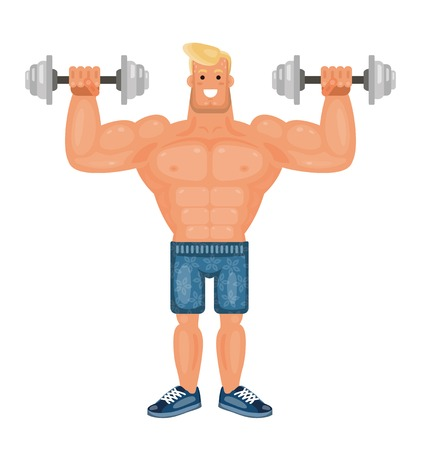 Beautiful pumped up bodybuilder man doing exercises with dumbbells and smiling, flat vector illustration